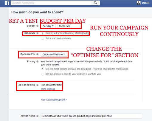 Optimise your facebook retargeting for clicks to website audience