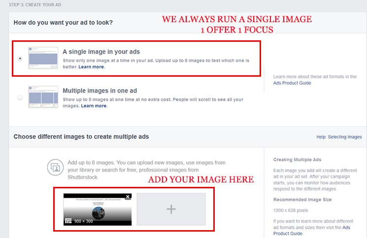 Ad your remarketing ad images to your facebook campaign