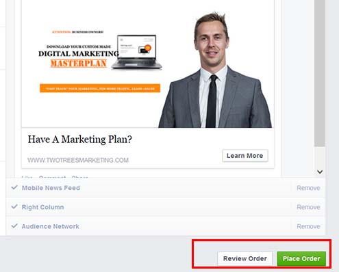 "Select ""Place Order"" to start your facebook retargeting campaign"