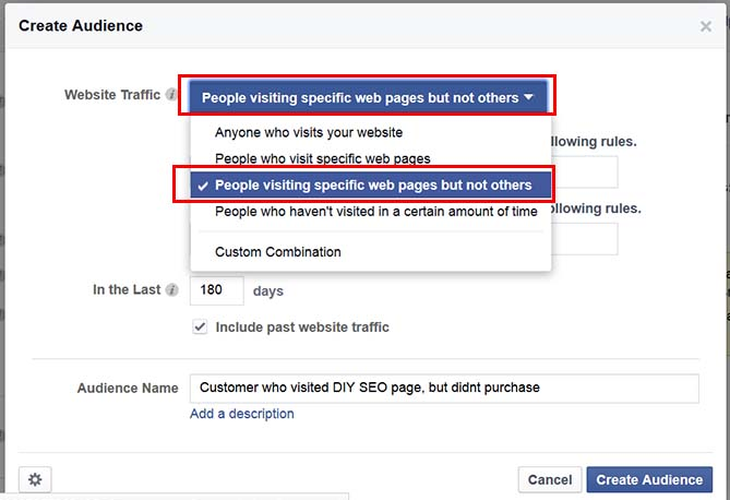Create a retargeting audience of people visiting specific web pages but not others