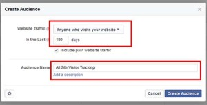 create an all site audience retargeting audience