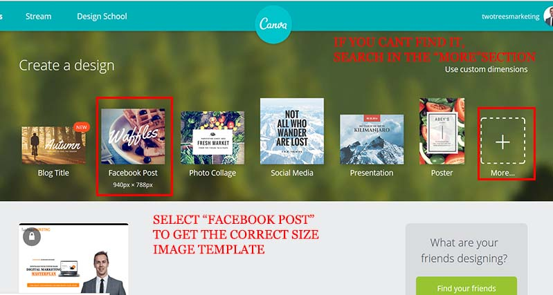 "Head to Canva and select ""Facebook Post"" template to design your facebook retargeting ad"