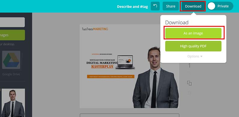 "Finish your ad design by selecting ""download as an image"""