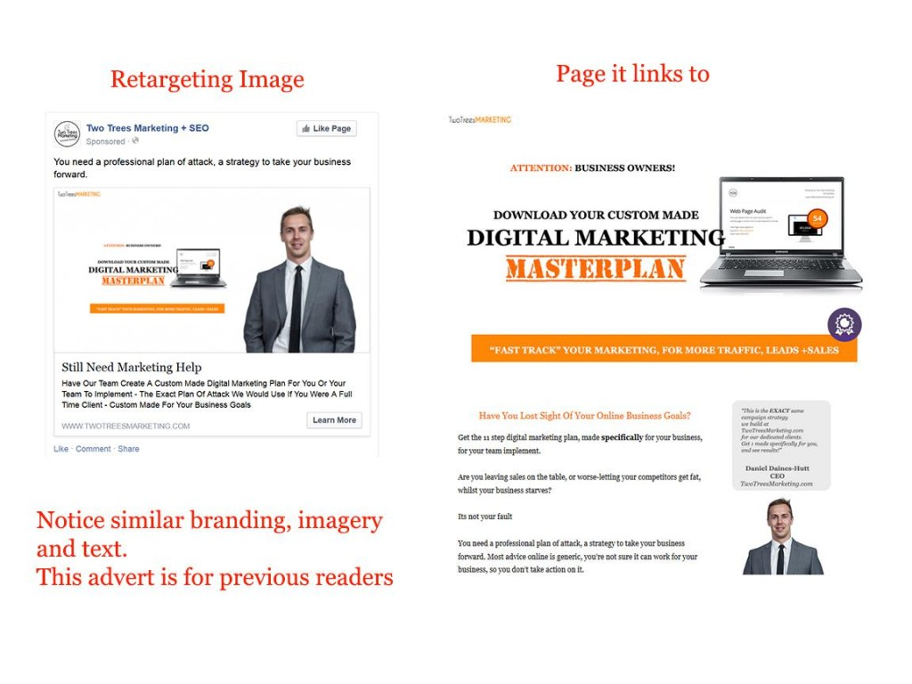 Be consistent in your imagery and branding between your facebook ad campaigns and sales pages