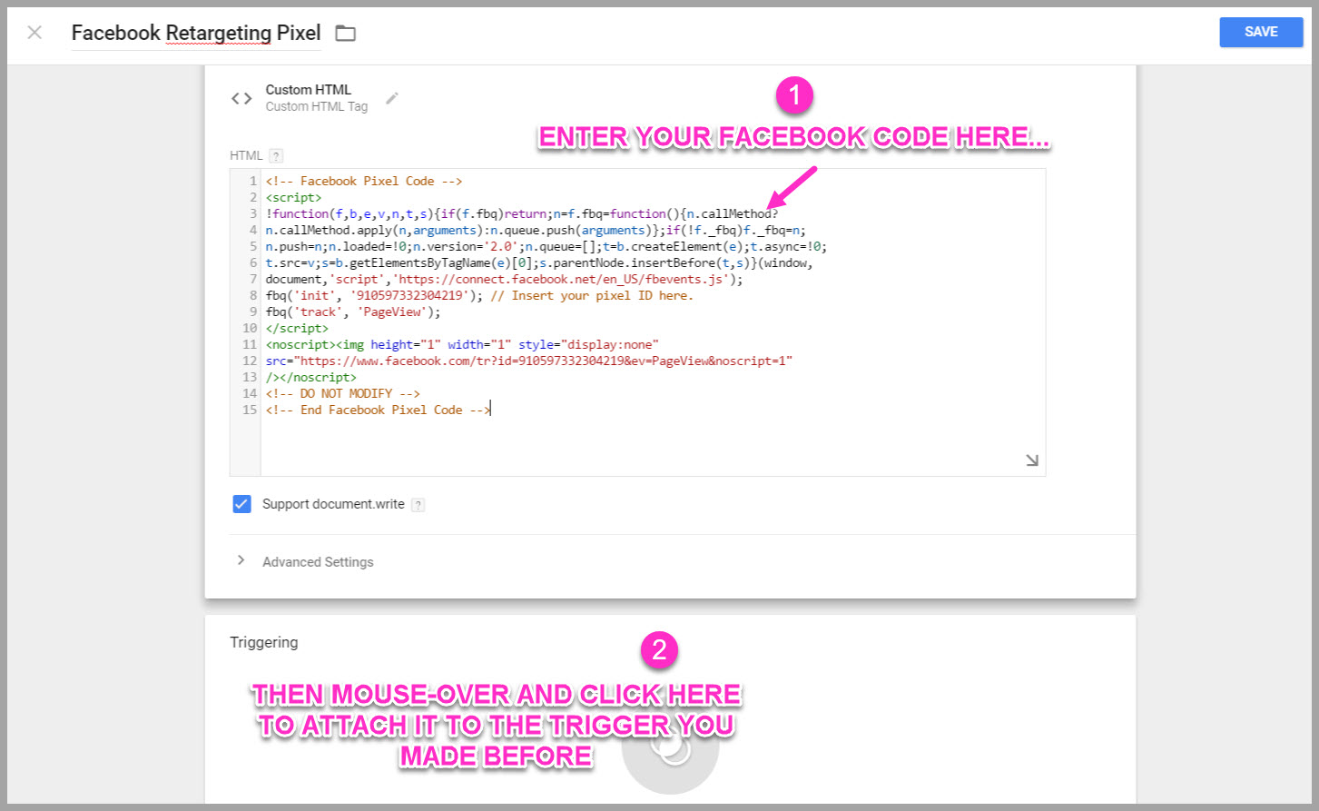 Paste the facebook pixel code you just saved into the top box section